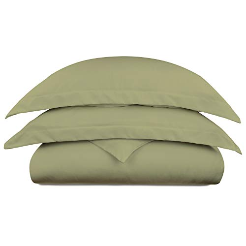 Cosy House Collection Luxury Bamboo Duvet Cover Set 3-Piece - Ultra Soft Hypoallergenic Bedding - Zippered Comforter Protector, Includes 2 Pillow Shams - King/Cal King - Sage Green