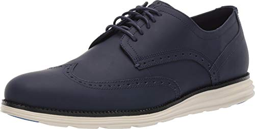 (Cole Haan Mens OriginalGrand Wingtip Oxford 8 Blue Matte Leather)