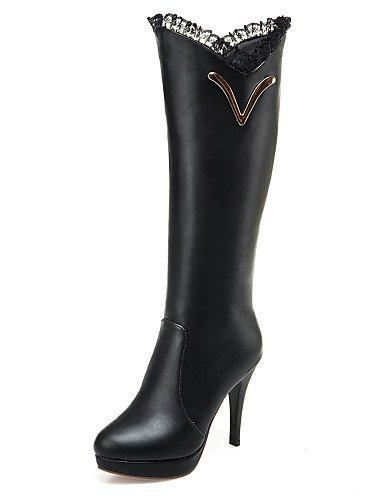 Tacón Xzz Blanco Negro De Plataforma Zapatos 5 Black 5 Cn35 us10 Punta A Uk3 Moda Vestido La 5 Cn43 White Stiletto Semicuero 5 Redonda Eu36 us5 Mujer Uk8 Eu42 Botas rttZAnq