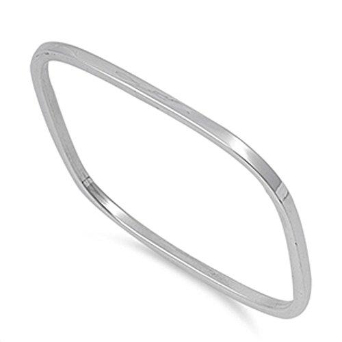 Slip-On Bangle Square Rounded Bracelet .925 Sterling Silver ()