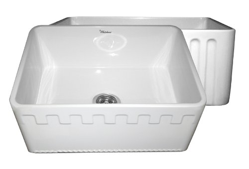 Whitehaus WHFLATN2418 Reversible Series Fireclay Sink with Athinahaus Front Apron One Sided Fluted Front Apron on Opposite Side, White by Whitehaus Collection