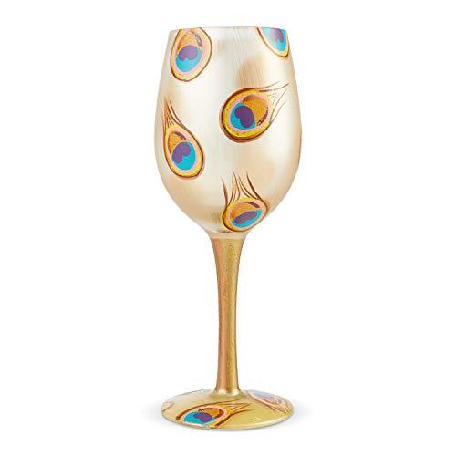 Enesco 6004361 Designs by Lolita Golden Peacock Artisan Wine Glass 15 oz. Multicolor