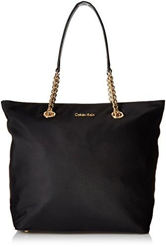 Calvin Klein Florence Large Nylon Tote, Black/Gold by Calvin Klein