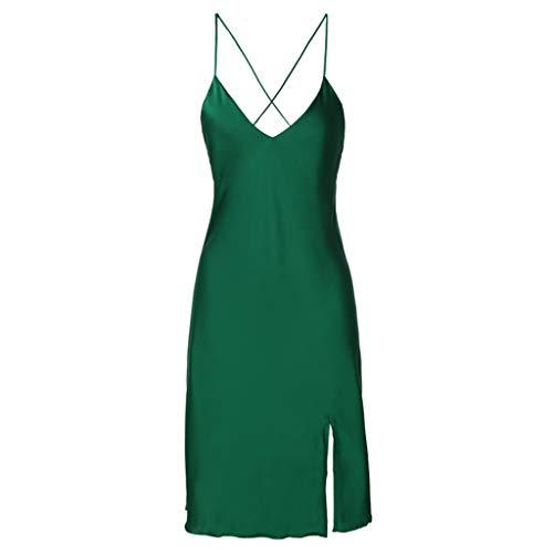 V Verde De Cómoda Cuello Esposa Ropa Dormir Color Sólido Interior Una Halter Pieza Corto Y Amigable Green En Camisones Pijamas Damas Con Sv7qWEnwEY