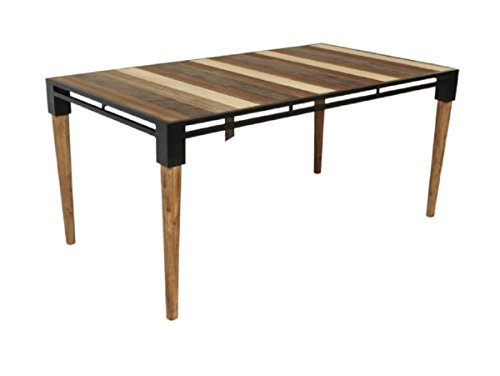 CDI FURNITURE TD1282S The The Medley Collection Modern Rustic Acacia Wood Rectangular Dining Table, Multicolored