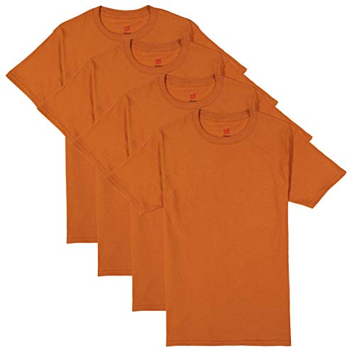 Hanes Men's ComfortSoft Short Sleeve T-Shirt (4 Pack) (X-Large, Burnt - Short Cotton Sleeve Shirt Adults