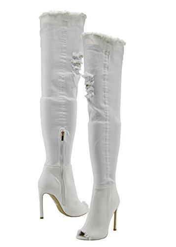 Para White High Toe Footwear Mujer de Denim Altas Tacón Stiletch Aguja de Botas Kick Stiletch wqP81O8