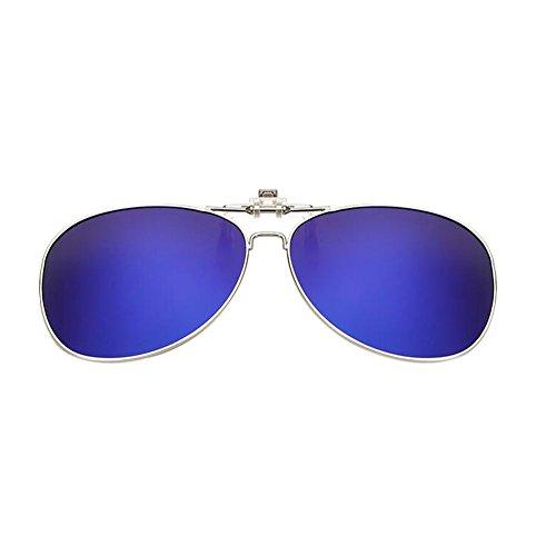 Polarisé New soleil Flip UV400 de Meijunter Metal Lentilles up Lunettes Resin Clip Lunettes Blue Frame on d56UqxU