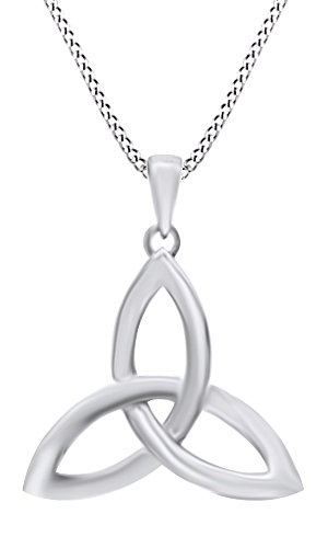 Celtic Trinity Knot Pendant Necklace In 14K White Gold Over Sterling Silver - 14k Trinity Knot Pendant