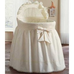 BabyDoll Bedding Precious Bassinet Liner/Skirt & Hood Color Ecru, 16'' L x 32'' W