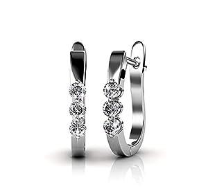 - Jewelry for Women | Swarovski Crystal Earrings | Bella | Nickel and Lead Free | 18K White Gold Plated | Hoop Ear Rings