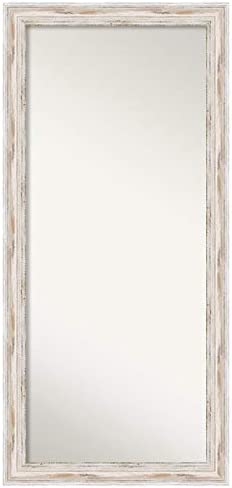 Amanti Art Framed Alexandria White Wash Solid Wood Wall Mirrors, Glass Size 57 x 24