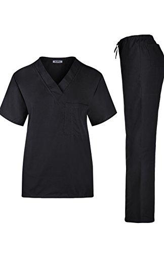 MedPro Women's Unisex Solid Medical Scrub Set V-Neck Top Cargo Pants Black S (Scrubs Nurses Uniform Set)