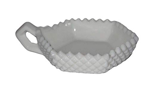 Vintage Westmoreland Milk Glass English Hobnail Single Handled Candy Dish, 6 x 5 x 1 1/2 Inch