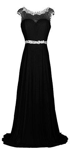 (Licoco Women Sleeveless Beaded Semi-Formal Long Maxi Evening Gown Wedding Dress (Black57,Large))