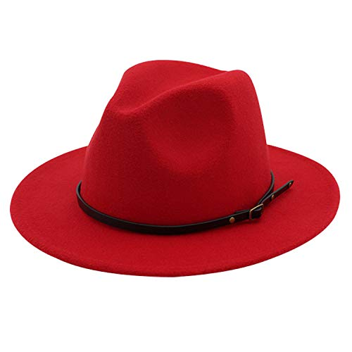 Red Hat Fashion - DRESHOW Fedora Hat for Women Felt Panama Hat with Belt Buckle Foldable Roll Up Beach Cap Sun Hat UPF 50+