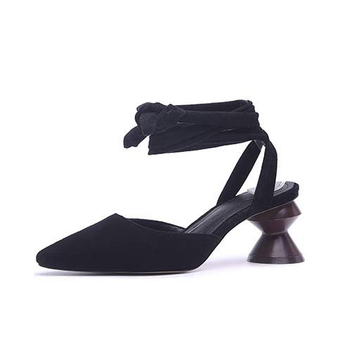 Yukun zapatos de tacón alto Zapatos De Punta Roja Stiletto Bride High Heels Side Empty Word Hebilla Zapatos Individuales Mujer, 38, Negro Atmospheric Black