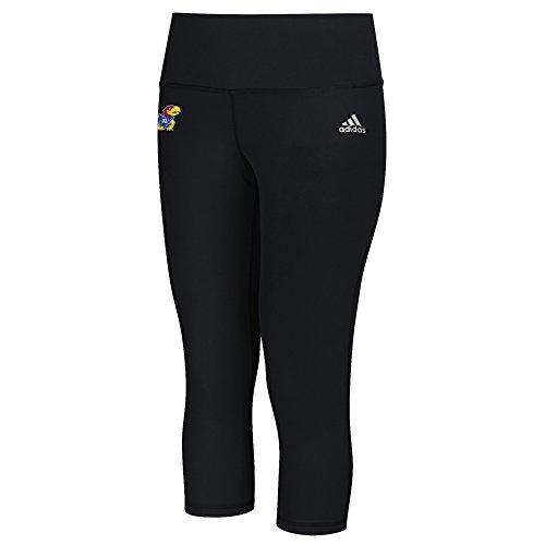 adidas NCAA Kansas Jayhawks Logo Performer Climalite Mid Rise 3/4 Tight Pants, X-Large, Black