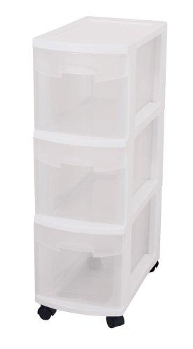 Sterilite 27308003 Narrow 3 Drawer Cart White Frame Clear Drawers 3 Pack - bedroomdesign.us