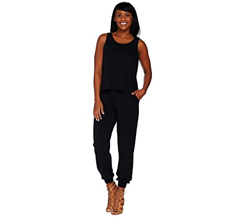 Lisa Rinna Collection Banded Bottom Knit Jumpsuit A278426  Black  Ps