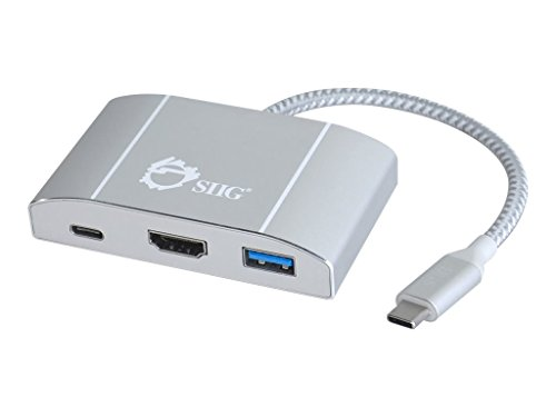 SIIG USB Type C (USB-C) Hub with 4K HDMI, 60W Laptop Charging (PD), & 3x USB 3.1 Gen 1 Type A Ports, Aluminum Video Adapter Hub and Dock, For MacBook Pro, Chromebook and Other Windows USB C Laptops