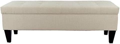 MJL Furniture Designs Brooke Collection Button Tufted Upholstered Long Bedroom Storage Bench, Sachi Series, Khaki