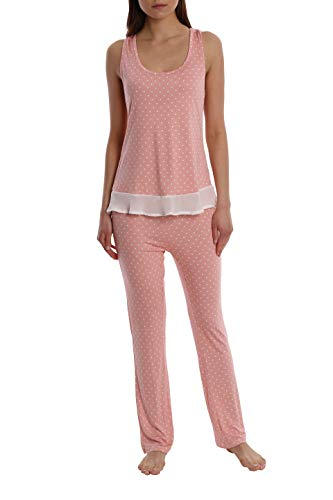 (Women's Printed Light and Airy Sleepwear Set Flowy Racerback Tank Top & Pajama Bottoms - Pink Dot - Small)