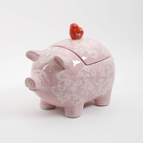 (Urban Market by Gibson 99878.01RM Life on the Farm figural, Pig Shape, Cookie jar with lid, Pink)