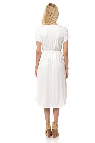 Midi Solid in Ivory Made Flare Dress Pockets iconic with Sleeve Short luxe and Floral Women's USA in 4xgq1vX