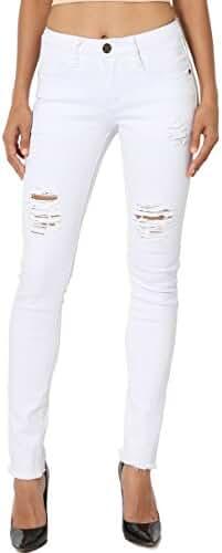 TheMogan Women's Distressed Ripped Straight/Slim/Bootcut/Skinny/Crop Denim Jeans