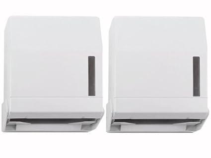 2 dispensador de toallas de papel plástico blanco sobre el que sistema de candado con llave