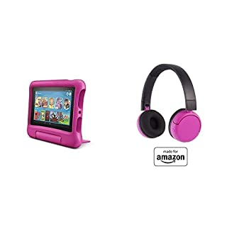 Fire 7 Kids Tablet 16GB Pink with Poptime (Ages 8-15) Bluetooth Headset