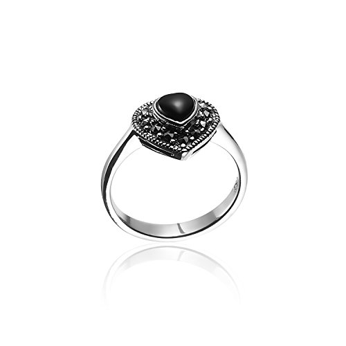 Chuvora 925 Oxidized Sterling Silver Marcasite Black Onyx Heart Ring Size 7 - Nickle Free