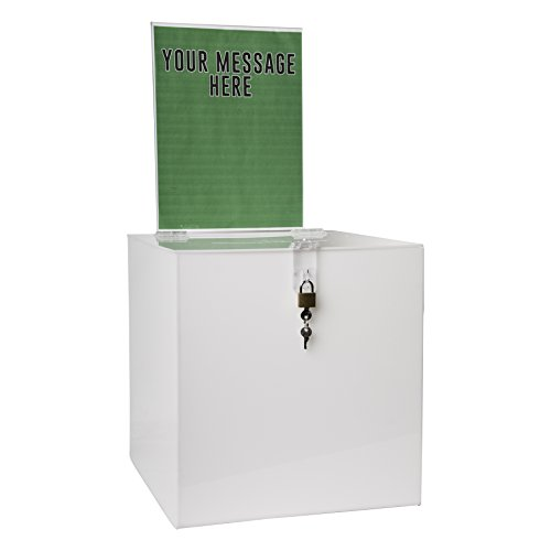 Clear-Ad - SBB-1212-H-WHT - Acrylic Donation Box with Lock and Sign Holder - Plastic Countertop Container for Voting, Charity, Ballot, Survey, Raffle, Contest, Suggestion, Tips, Comments (12x12 White)