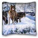 """Custom Characteristic ( Animals Wolves Winter snow river forest Art ) DIY Pillow Cover Size 16""""X16"""" suitable for Queen-bed PC-Purple-2549"""