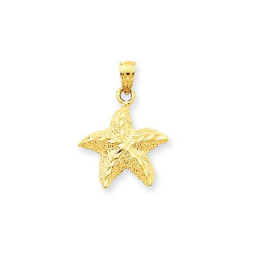 Diamond Cut Starfish Pendant (14k Yellow Gold 15mm Diamond Cut Starfish Pendant)