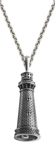 Currituck Light Sterling Silver Lighthouse Bell 22 Inch Necklace Chain
