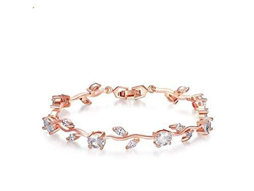 FEDONA 18k Yellow Gold-Plated Sterling Silver Diamond Accent Two-Tone Gemstone Tennis Bracelet Diamond Bangle Bracelet Rose ()