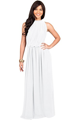 Bride Sleeveless Dress (KOH KOH Womens Long Sexy Sleeveless Bridesmaid Halter Neck Wedding Guest Summer Flowy Casual Brides Formal Evening Gown Gowns Maxi Dress Dresses for Women, Ivory White L 12-14 (2))
