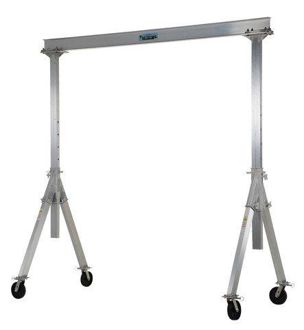 Vestil AHA-2-10-8 Aluminum Adjustable Gantry Crane, 2000 lb. Capacity, 10' Overall Beam, 96'' Usable Trolley Travel Distance, Under I-Beam Range 68''-96'', 104'' Height by Vestil