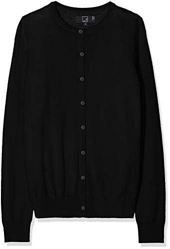 Meraki Women's Merino Crew Neck Cardigan Sweater,  (Black), XL (US 12-14)