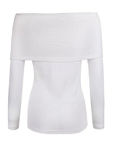WanYang Mujeres Suéter Que Hace Punto Sin Tirantes De La Camiseta Ocasional De Manga Larga Camisas Blusas Blanco