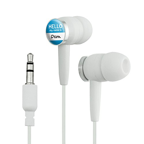 Deon Hello My Name Is Novelty In-Ear Earbud Headphones - White
