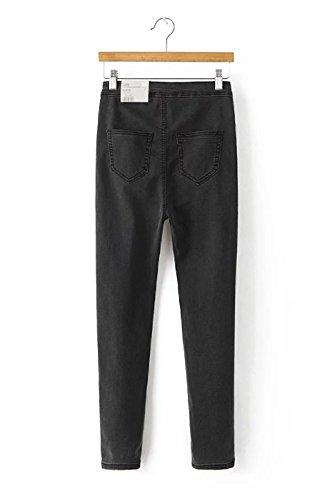 Women 's Retro Stretch Slim Jeans De Cintura Alta Gray