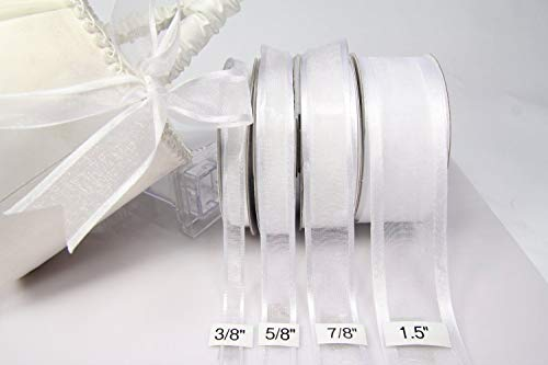 Ribbon Organza Nylon - White Organza Ribbon With Satin Edge-25 Yards X 5/8 Inches