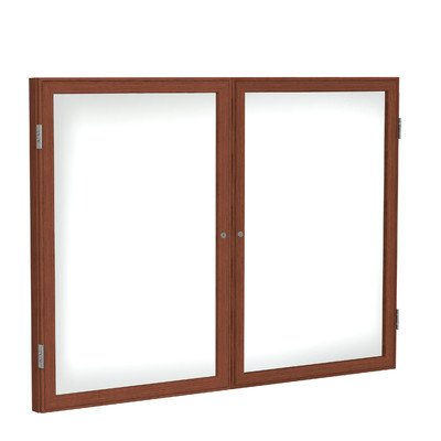 2 Door Wood Frame (2 Door Wood Frame Enclosed Porcelain Magnetic Whiteboard Size: 3' H x 5' W, Frame Finish: Walnut)
