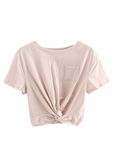 MAKEMECHIC Women's Short Sleeve Basic Twist Knot Pocket Crop Top Tee Shirt Pink S