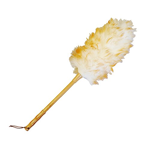 (Denali USA Auto superfine lambswool feather duster with durable wood handle, perfect to clean ceiling fans, window blinds, computer screens, keyboards, plant leaves, dashboards, bookshelves,pets hair)