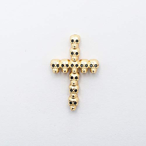 OBELLA BOUTIQUE 2235mm Brass Cubic Zirconia Skull Cross Shape Connectors DIY Jewelry Findings Making, Weight: 3.9g Model: ZSS105