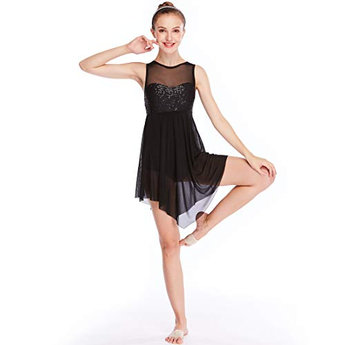MiDee Lyrical Dress Dance Costume Illusion Sweetheart Sequines Tank Top Trianglar Skirt ()
